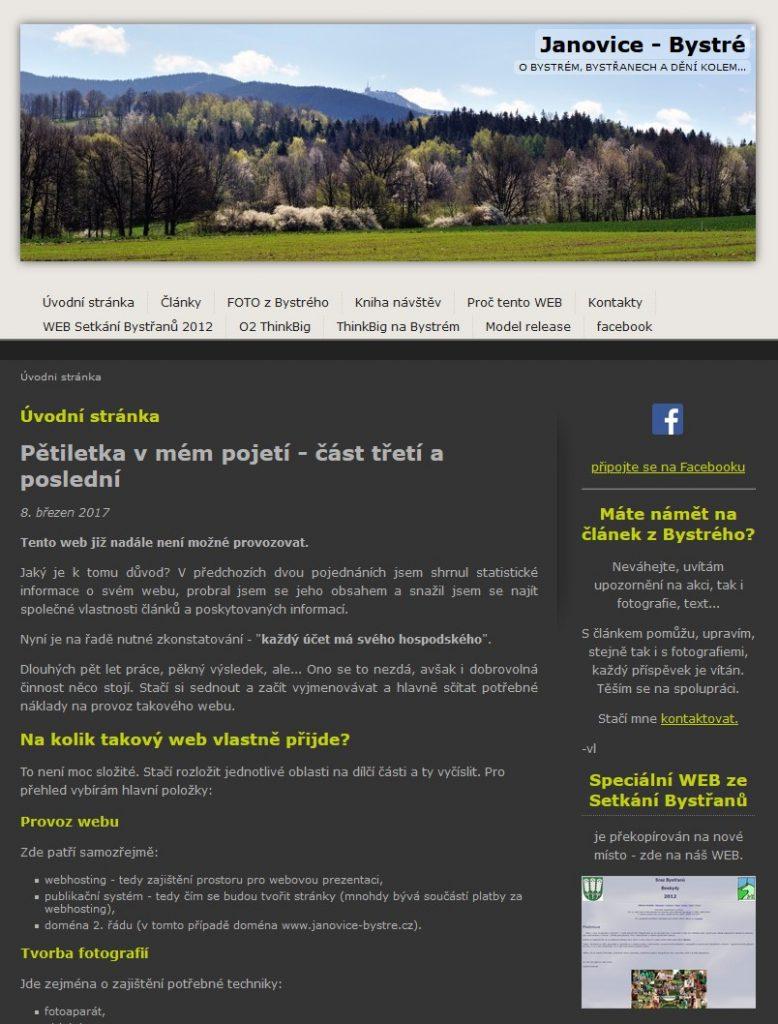 ukázka titulní stránky webu o dění na Bystrém v letech 2012-2016